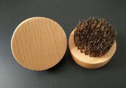 Древесное масло Онлайн-Естественный кабан щетины бороды кисти усы военной круглой деревянной ручкой мужские бороды кисти лица сообщение лица волос бороды нефти