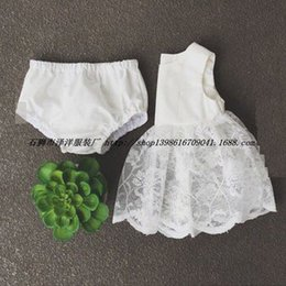 2017 Ins Baby girl kids Summer clothes clothing 2piece set Outfits Lace Hollow Vest dress Jumpsuits Tops Shirts + Shorts pants Bloomers Cute