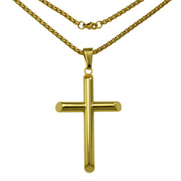 n321-Ladies Gifts Stainless Steel Gold Cross Pendant Necklace Beads Chain