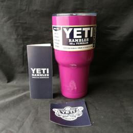 Eaux fraîches à vendre-30 oz Couteaux isolés au vide Yeti Tasse de voyage refroidisseur Bouteille d'eau Tasse à café de bière avec couvercle Tumbler en acier inoxydable Rambler Cup