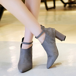 Fashion Women Shoes 2017 season new Korean pointed suede rough with high heels zipper buckle Martin boots women Martin boots 35-39