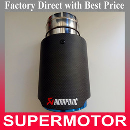 Wholesale 1PCS Inlet mm Outlet mm Car Styling Akrapovic Carbon Fiber with Blue stainless steel Exhaust End Tips For Universal Carbon Exhaust pipes