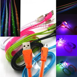 Wholesale multi LED lights samsung micro usb cable with fluorescent lights TPE rubber material for galaxy and IP system and android good qualit