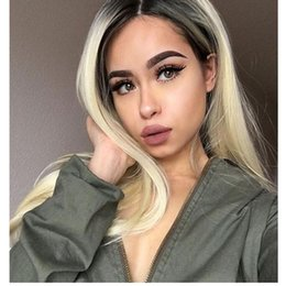 Ombre Color Blonde #1B 613 Straight Full Lace Wig Baby Hair Brazilian Human Hair Lace Front Wig Glueless Bleached Knot