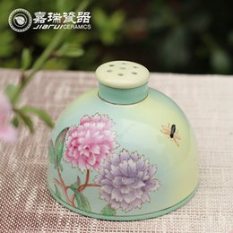 Wholesale High Temperature baked Colorful Hand Paint Floral Birds ceramic aroma reed Diffuser Home Decorative Fragrance Oil diffuser