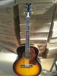 Acoustique de érable flammé en Ligne-Wholesale-2015 New + Factory + Chibson J200 guitare acoustique de luxe tous les vrais abalone J200 flamme érable acoustique guitare électrique