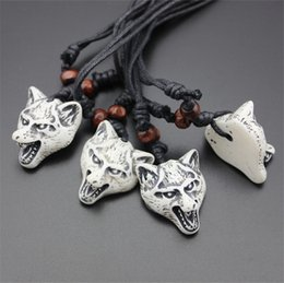 Wholesale New Fashion Carved Totem Bionic Bone Wolf Pendants Necklaces Simulated Bone Wolf Necklaces Length Rope Adjustable Jewelry For Men Women