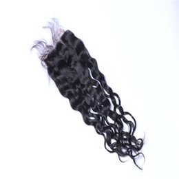 Lace Closure Brazilian virgin Body Wave Straight Curly Middle free three way Part 4x4 Brazilian Hair Natural color #613 Human Hair Closure