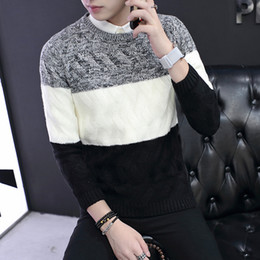 Wholesale Men s sweater long sleeved sweaters all match warm classic Bai Metrosexual winter sweater mens shirt color sweater