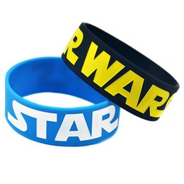 "Wholesale Shipping 50PCS Lot 1"" Wide Star Wars Silicon Bracelet Wristband For Gamer Promotion Gift Adult Size"