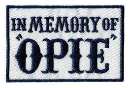Wholesale IN MEMORY OF OPIE Blue Embroidered Iron Patch Motorcycle Biker Badge Sew On DIY Applique Embroidery Accessory Emblem Free Shipping