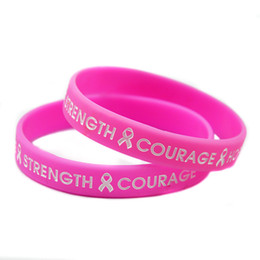 Wholesale 100PCS Lot HOPE STRENGHT COURAGE Silicone Bracelet with Ribbon For Cancer Show Your Support Wearing This Wristband