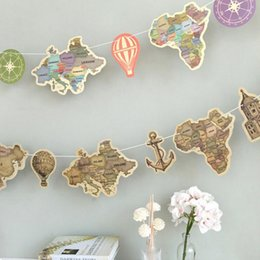 Wholesale 9 set ancient world map paper Flag hang Pennants celebration Party Banner Shop photography Decorations flags family decorate