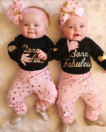 Wholesale 2017 Spring Ins News Baby Clothing Sets Baby Girl Gold Letter Print Rompers With Matching Polka Dot Long Pants Two Piece Sets