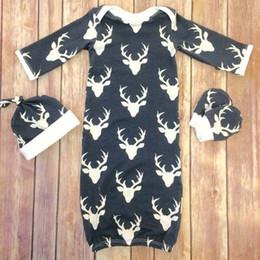 Wholesale Baby Boys Girls Rompers Jumpsuits Sleepsuit Bodysuit New Long Sleeve Tops Cartoon Deer Hat Cotton Gloves Sleeping Bags Kids Clothing XY112