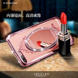 Descuento anillo de metal espejo Lujo Princess Bling Rhinestone diamante espejo chapado TPU maquillaje caso para iPhone 5 SE 6 6S 6Plus iPhone 7 Plus soporte anillo de pie