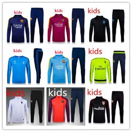 Wholesale 2016 Top quality England Chelsea Arsenal kids soccer tracksuit chandal kids football Tracksuit training suit skinny pants