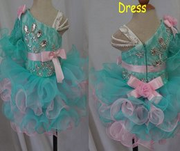 robe de conception en cristal court Promotion Vente en gros New 2017 Cute Cupcake Pageant Robes avec cristaux Lace Organza Ruffles Design Bows Design Short Little Cheap Young Girls Ball Go