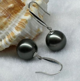 real pearl jewelry 9-10MM PERFECT ROUND SOUTH SEA BLACK PEARL EARRING SILVER