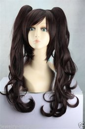 100% Brand New High Quality Fashion Picture full lace wigs>New Cosplay Lolita Dark Brown Long wig + Two Ponytails