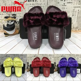 Wholesale 2017 New Style Puma Leadcat Fenty Rihanna Shoes Men Women Slippers Indoor Sandals Girls Scuffs Cheap Fur Slides High Quality