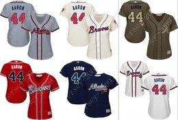 Wholesale women Hank Aaron jersey Atlanta Braves Baseball Jerseys cool base Stitched size S XL for sale