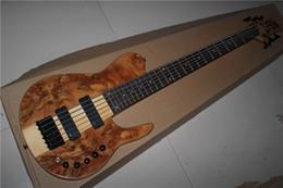 Guitare par à vendre-Livraison gratuite Le nouveau morceau de morceau de bois naturel de qualité supérieure de nouveau à travers le corps active Les micros 6 cordes Guitare basse électrique 1117