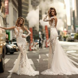 Berta 2017 Sexy New Mermaid Wedding Dresses Sheer Long Sleeves Full Lace Appliqued Bridal Dress See through Backless Bridal Gowns