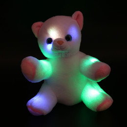 Dropshipping plush en Ligne-Dropshipping Livraison gratuite 20cm 1pcs White Cat Stuffed Animals Night Glowing LED Little Cat Peluches Toys Creative Gifts for Kids and Girls