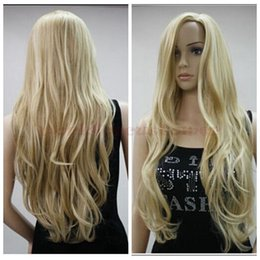 100% New High Quality Fashion Picture full lace wigs Fashion Blonde Mix Ladys Long Wavy Wig Party Anime Cosplay Hair Full Women's Wig