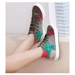 Wholesale All match Women shoes high canvas shoes women fashion casual shoes for women Color block decoration