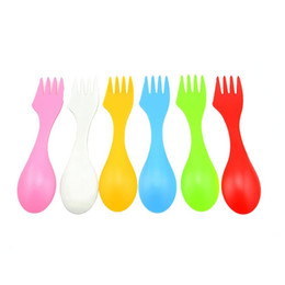 New Arrival 3 in 1 BPA-Free Spoon Fork Knife Cutlery Set Camping Hiking Tritan Spork Serrated Knife Edge Tableware Utensils Kit, Set of 6