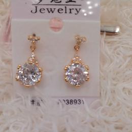 Wholesale 14K oro plateado rosa pendientes de joyería Studs para mujer Cublic Zirconia Ear Studs orden de mezcla Xuping marca ambiental Copper pendientes