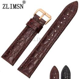 Promotion bracelet en cuir véritable Vente en gros-ZLIMSN 18mm Boucle de montre Boucle en métal Thin Crocodile Pattern Bracelet en cuir véritable B9a Relojes Hombre relogio masculino
