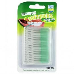 20000pcs(500set) green clean pikI shape push-pull type Interdental brush Dental floss Orthodontic toothbrush imports rustproof 0.7mm