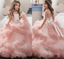Unique Designer Blush Pink Flower Girls Dresses 2017 Ball Gowns Cascading Ruffles Long Pageant Gowns for Little Girl MC1290