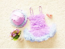 2017 new baby girls clothes sets swimming suits brace dresses+hats 2pcs swimsuits flower toddler puff dress cute kids tutu dress