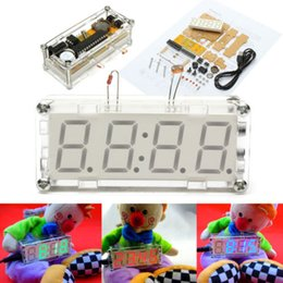 Wholesale DIY Electronic Microcontroller Kit LED Digital Clock Time Thermometer case power supply cable tracking number