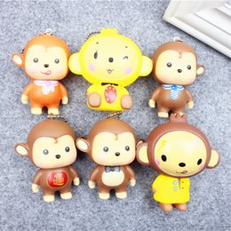 Wholesale New Year of the monkey happy little gift evade glue fair young big mouth present key chain pendant