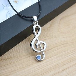 New Fashion Note Pendant Necklaces Blue Rhinestone Leather Chian Silver Plated Short Necklaces For Unisex Party