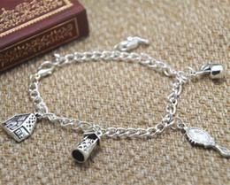 12pcs Snow White Inspired Charm Bracelet Jewelry Princess Inspired silver tone