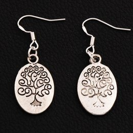 Oval Family Tree Earrings 925 Silver Fish Ear Hook 30pairs lot Antique Silver Chandelier E203 41.5x14.9mm