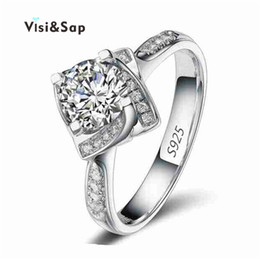 Visisap White gold color ring Square Shape Wedding Engagement Rings for Women cubic zirconia Jewelry Ring Wholesale VSR095