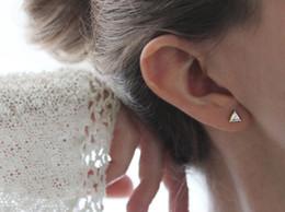 Simple Imitation Diamond Earring 925 Silver Triangle Cut Zircon