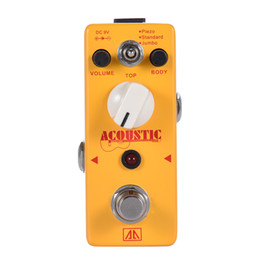 Wholesale AROMA AAS Acoustic Guitar Simulator Effect Pedal Modes Aluminum Alloy Body True Bypass Guitar Parts Accessories