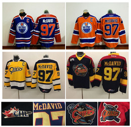 Wholesale Top Quality Men Erie Otters Hockey Jerseys Cheap Connor McDavid Jersey Authentic Stitched Jerseys Edmonton Oilers McDavid Mix Order