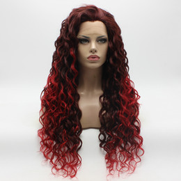 Iwona Hair Curly Long Auburn Root Red Ombre Wig 18#33 3100 Half Hand Tied Heat Resistant Synthetic Lace Front Wig