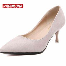 Nouvelle marque 1/2 Basique Pointe Toe Med Thin Heels Flock Plain Party Dress Femmes Chaussures Slip On Bureau Lady Fashion Pumps à partir de chaussures simples talons fabricateur