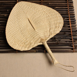 Wholesale Chinese hand fan Straw wedding souvenirs home decoration crafts vintage poetry hand woven ladies and family fans