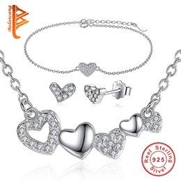 925 ensembles de mariée à vendre-Mode Haute Qualité Cristal 925 Sterling Silver Wedding Jewelry Set BraceletEarringNecklace AAA Zircon Pour bijoux de mariée set
